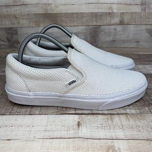 Vans White Leather Classic Slip On Shoes M 8.5